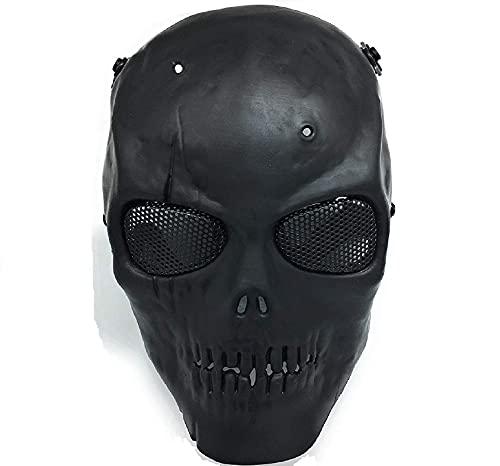 CS mascarilla de protección Halloween Airsoft Paintball Full Face Skull Máscara de esqueleto (Negro)