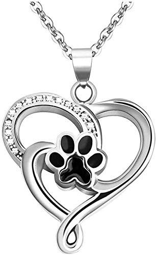 Collar collar de ceniza de acero inoxidable en forma de corazón collar relleno de ceniza regalo de recuerdo conmemorativo collar de urna con estampado de pata de perro con colgante de regalo