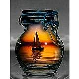Greatminer Peinture diamant à faire soi-même, strass en cristal, décoration murale pour maison, bateau dans la tasse 30 x 39,9 cm