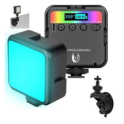 Sumeber Lámpara de vídeo LED RGB con batería integrada, luz continua, mini luz de vídeo regulable, 2500-9000 K, pequeña lámpara portátil para transmisión en directo, videoconferencias y más...