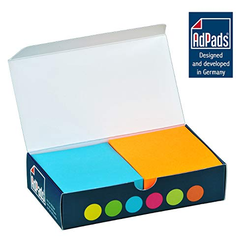 AdPads® selbstklebende Haftnotizzettel | 75 x 70mm, 6 Blöcke à 100 Blatt, Set Bunt Neonfarbe | Kleine Sticky Notes Box
