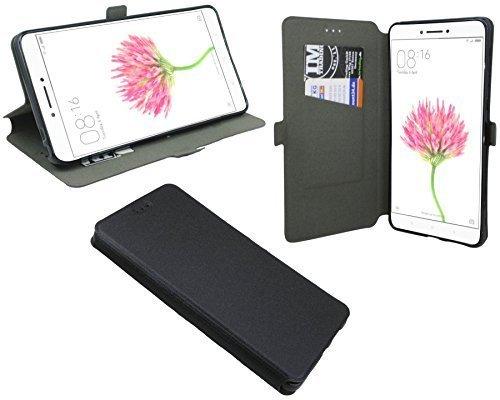 ENERGMiX Buchtasche kompatibel mit Xiaomi Mi Max Hülle Hülle Tasche Wallet BookStyle mit Standfunktion in Schwarz