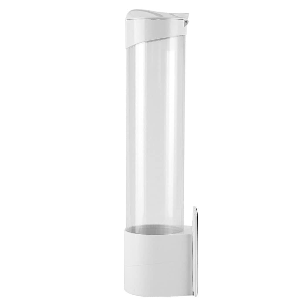Paper Cup Dispenser,Acogedor Plastic Anti Dust Cup Dispenser for Diameter 7.5cm / 2.95inch 50 Cups,with Screw Panel, Magnet Pad, Back Adhesive