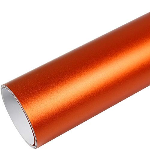 Rapid Teck® 9,86€/m² AutoFolie Serie 560MG Matt Chrom Orange 2m x 1,52m Premium Car Wrapping Folie mit Luftkanal