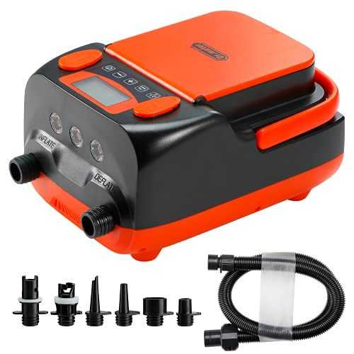 Dr.meter Electric SUP Air Pump, 6000mah Rechargeable /AC 110V/ DC 12V Powered High Pressure Air Inflator/Deflator with 2 USB Ports, 3 LED Lights and 6 Nozzles for Stand Up Paddle Boards, Boats,Tents