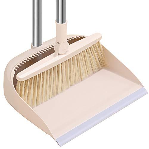 ZLFLD Besen Set Drehbare Winddichtes Comb Typ Dustpan Erweiterte Edelstahl-Stab Für Familien Küche Schlafzimmer Garten Reinigung Kombination 2-teiliges Set Beige