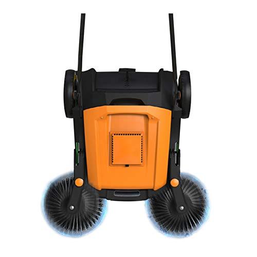 HJGHY Handkehrmaschine Kehrmaschine Kehrbesen Arbeitsbreite: 920 mm,Ergonomisch Schubbügel, Selbststehender Kehrbehälter 40 L