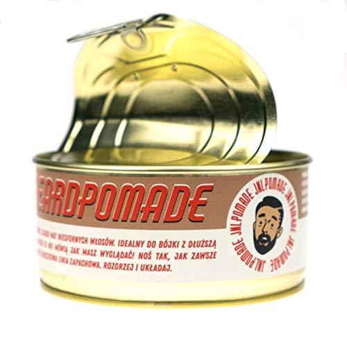 J&L Pomade - Beard Pomade | feste Bartpomade für ein gutes Bartstyling | Peach-Sandalwood-Scent | cooles Retro Design in Konservendose | Bartpflege aus natürlichen Zutaten | fester Halt | 100ml