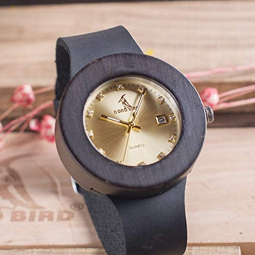 JINSUO DXXLD Ebony relógio de Madeira com Banda de Couro macio Quartzo Ouro analógico calendário alta Qualidade movimento aceitar