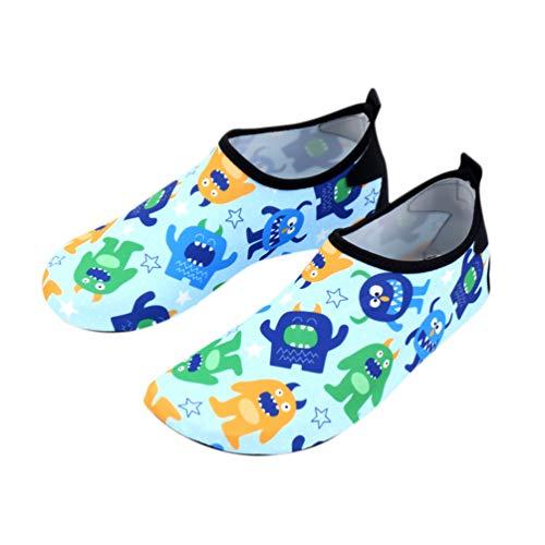 TOYANDONA 1 par de sapatos infantis elásticos respiráveis, sapatos de praia antiderrapantes, sapatos infantis de secagem rápida (dinossauro, tamanho 30-31, comprimento interno 17,3 cm)