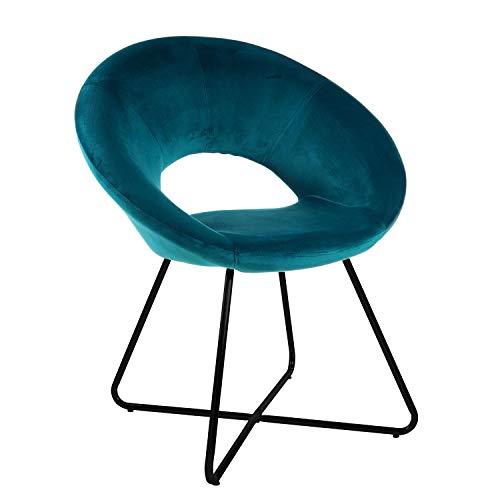 Poltrona Imbottita circolare in velluto con gambe in ferro nere. Poltrona Blu Petrolio 71x59x84 Cm
