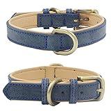 Mcdobexy Collares clásicos de cuero acolchado para perros en colores de contraste (L,Azul)