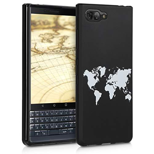 kwmobile Cover Compatibile con Blackberry KEYtwo Le (Key2 Le) - Custodia in Silicone TPU - Back Case Cover Protezione Posteriore Cellulare - Contorni Bianco Nero
