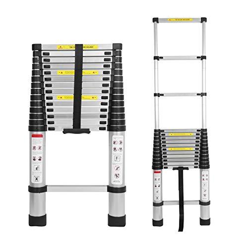 Mehrzweckleiter 4,4m Teleskopleiter Alu-Klappleiter Rutschfester Ausziehbare Robust Stehleiter 150 kg/330 Pfund Belastbarkeit