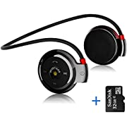 Bluetooth 4.0 Headset On Ear Wireless Headphone Behind-The-Neck with Fm Radio and Tf Card (32G) by Wise Tiger
