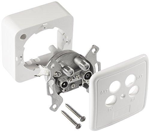 Poppstar 1x SAT Dose (4-Loch Antennendose), Enddose für SAT, TV und Kabel Anschluss (digital/analog), Aufputz/Unterputz geeignet