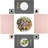 Set di 4 tovagliette in pelle PU lavabili, impermeabili, 45 x 30 cm e sottobicchieri quadrati in vetro per casa, cucina, ristorante (rosa/grigio)
