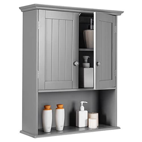 Tangkula Wall Mount Bathroom Cabinet Wooden Medicine Cabinet Storage Organizer with 2-Doors and 1-...