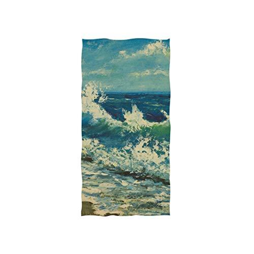 ALAZA Toalla de gimnasio de microfibra para playa y playa, pintura al óleo, secado rápido, deportes de fitness, sudor, toalla facial, 38,1 x 76,2 cm