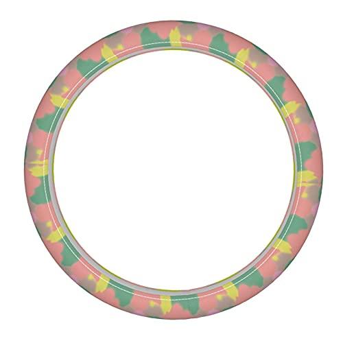Funda para volante de coche con diseño de flores tropicales, color pastel y estilo dibujado de microfibra de cuero para volante transpirable, antideslizante, sin olor, universal