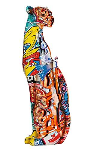 Moderne Skulptur Dekofigur Gepard stehend POP Art aus Kunststein Mehrfarbig 11x34 cm