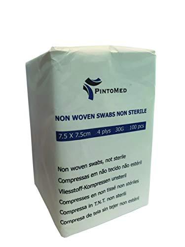 PintoMed - Compressa in TNT, Tessuto Non Tessuto, Tamponi di garza - non sterile, 4 ply, 7,5cm x 7,5cm, Pack 100