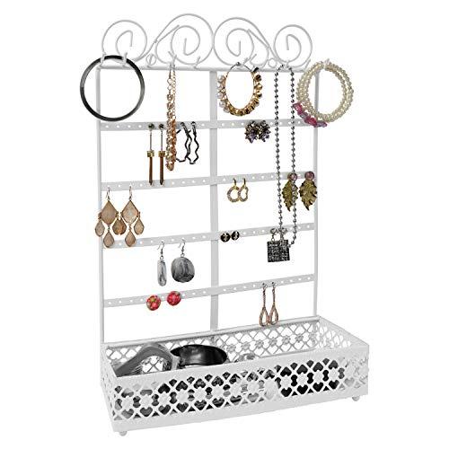 BELLE VOUS Schmuck Ständer Weiß Metall Schmuck Aufbewahrungssystem mit Fachboden 5 Reihen, 80 Löcher & 10 Haken - Wand&Tisch Halter für Ohrringe, Ketten Aufbewahrung, Armbänder, Ringe&Kosmetik