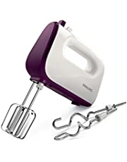Philips HR3740/11 Viva Collection Hand Mixer -White/Deep Purple, 400W, Stainless Steel Hooks, 5 speeds + turbo, Double Balloon Beater + Kneading tool, 1 year brand warranty, UAE Version