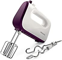 Philips HR3740/11 Viva Collection Hand Mixer -White/Deep Purple, 400W, Stainless Steel Hooks, 5 speeds + turbo, Double...