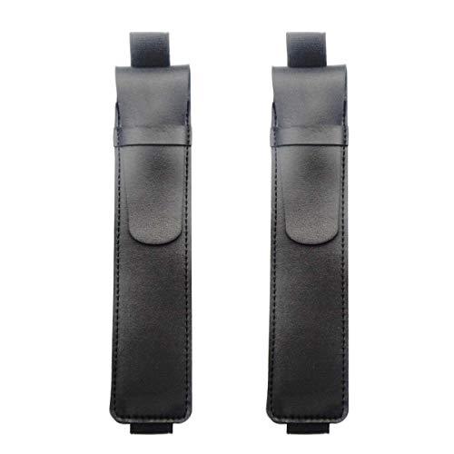 Enyuwlcm PU leather Elastic Band Pen Holder Single Pen Sleeve Holder for Notebook Black 2 Packs