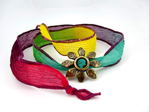 Seidenarmband für Frauen mit verschiedenen Farben, rot, grün, blau, gelb, lila, dient als Halskette.