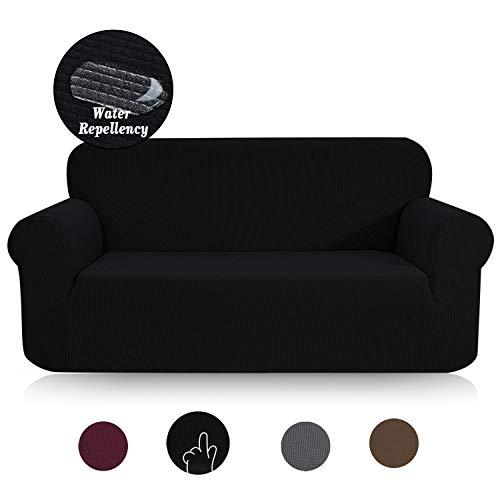 TOPOWN Sofaüberwurf, Jacquard Sofaüberzug, Couchbezug Wasserdicht, Sofahusse, Sofabezug für Sofa, Vier Farben (2 Sitzer, Schwarz)