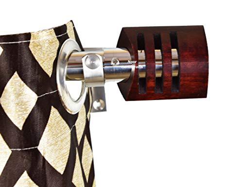 Noor Handicrafts - Soportes para barra de cortina de acero inoxidable hechos a mano con remates redondos para cortinas, palisandro natural, accesorios para el hogar, tratamiento de ventanas, cortinas