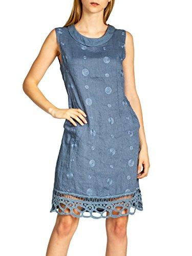 Caspar SKL019 knielanges Damen Sommer Leinenkleid mit Kragen und aufgestickten Punkten, Größe:L - DE40 UK12 IT44 ES42 US10, Farbe:Jeans blau
