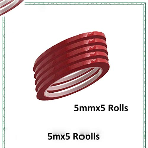 5pack 5 mm Breite Isolier-Mylar-Band Flammenhemmende für Coil, Transformator, Draht, Batterie-Verpackung, Hochtemperatur 50 Meter/Rolle, Rot, 5mmx5Rolls
