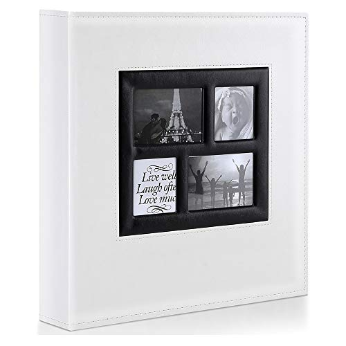 Ywlake Photo Album 4x6 500 Pockets Photos, Extra Large Capacity Family Wedding Picture Albums Holds 500 Horizontal and Vertical Photos White