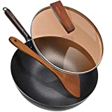 Carbon Steel Wok Pan with Lid & Wood Spatula, Aneder 12.5' Cast Iron Stir Fry Pan with Flat Bottom and Wooden Handle for Electric, Induction and Gas Stoves