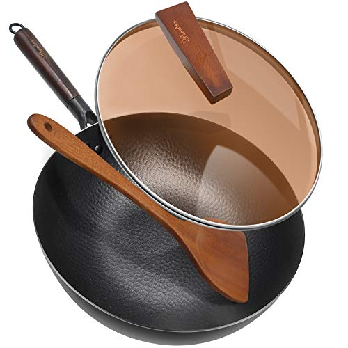 "Carbon Steel Wok Pan with Lid & Wood Spatula, Aneder 12.5"" Cast Iron Stir Fry Pan with Flat Bottom and Wooden Handle for Electric, Induction and Gas Stoves"