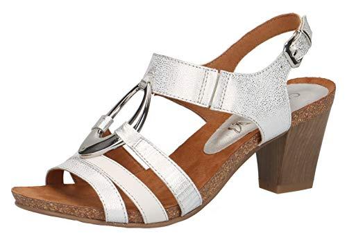 CAPRICE 28308-22 Damen Sandaletten,Sandaletten,Sommerschuhe,offene Absatzschuhe,hoher Absatz,feminin,(919) Silver/White,37.5 EU / 4.5 UK