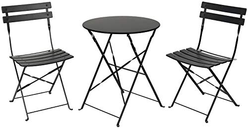 PATIO CHOICE Patio Bistro Set, Outdoor Bistro Table Sets,3 Piece Patio Set of Foldable Bistro Chairs and Table,Black