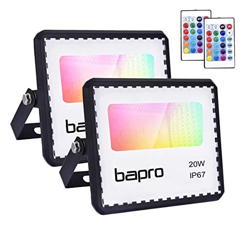 2 piezas 20W Foco LED RGB con Control Remoto, bapro Proyector 16 Colores Cambiable y 4 Modos Exterior Interior IP67 Impermeable Floodlight Exteriores Iluminación Decoración para Jardín Navideña Fiesta