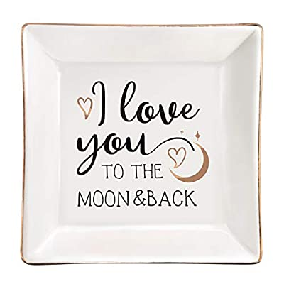 ElegantPark Girlfriend Gifts Ring Dish Valentine Anniversary Birthday Gifts for Women Girls I Love You to The Moon and Back Jewelry Dish for Thanksgiving Day Christmas Ceramic Trinket Plate