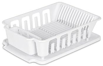 STERILITE 2-Piece Large Sink Set Dish Rack Drainer White  18 L x 13 3/4  W x 5 1/2  H  3/4  L x 3/4  W x