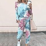 YZY Conjunto De Pijama Tie-Dye para Mujer,2020 Pijamas Casual Estampados con Efecto Tie-Dye,Ropa De Dormir De Estilo Lady Jogging,Ropa De Dormir De Manga Larga(Color:Azul,Size:X-Large)