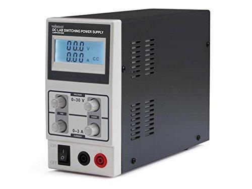 VELLEMAN 400435 LABPS3003SM - Alimentatore DC per terminali con display LCD, 0-30 VDC/0-3, colore: Grigio scuro