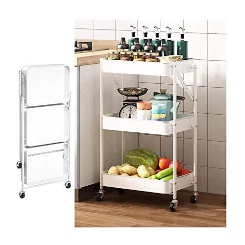 YNGJUENCP Hopfällbar vagn kök med hjul, metallserveringsvagn med 2 bromsar, mobila kökshyllor för sovrum, badrum, vardagsrum, byrå, skönhetssalong, smala platser, ljus (färg: vit)