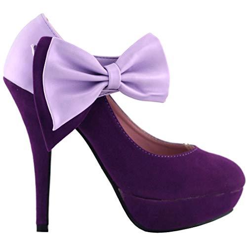 SHOW STORY Purple Bow Ankle Strap Stiletto Platform Pumps,LF30412PP40,9US,Purple