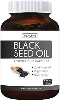 Black Seed Oil - 120 Softgel Capsules Non-GMO & Vegetarian Premium Cold-Pressed Nigella Sativa Producing Pure Black Cumin Seed Oil with Vitamin E - 500mg Each 1000mg Per Serving