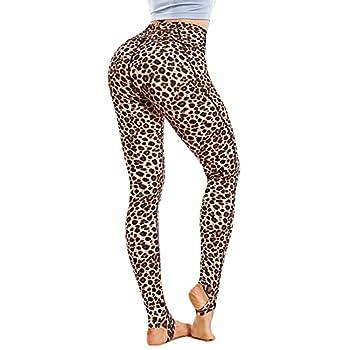 LEINIDINA Women s Stirrup Leggings High Waist Yoga Pants Women Pocket Extra Long Over The Heel Leggings with Foot Straps Pattern Leopard Large