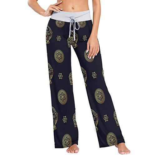 Pantalones de Pijama para Mujer, Pantalones de Yoga, Leggings Inferiores, Pantalones de salón de Cintura Alta, Estampado Floral sin Costuras de Elefante